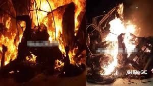 Three burnt to death after truck collides with tricycle at Anloga Junction